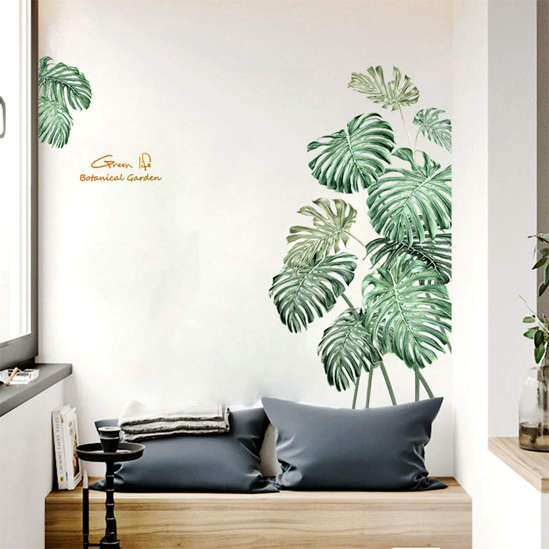 Tropical Plants Wall Decal Leaves Wall Decor Nature Palm Tree Leaf Plants Wall Stickers DIY Wall Art Murals for Nursery Room Bedroom Living Room Classroom Offices Home Decoration TV Wall Door Decor