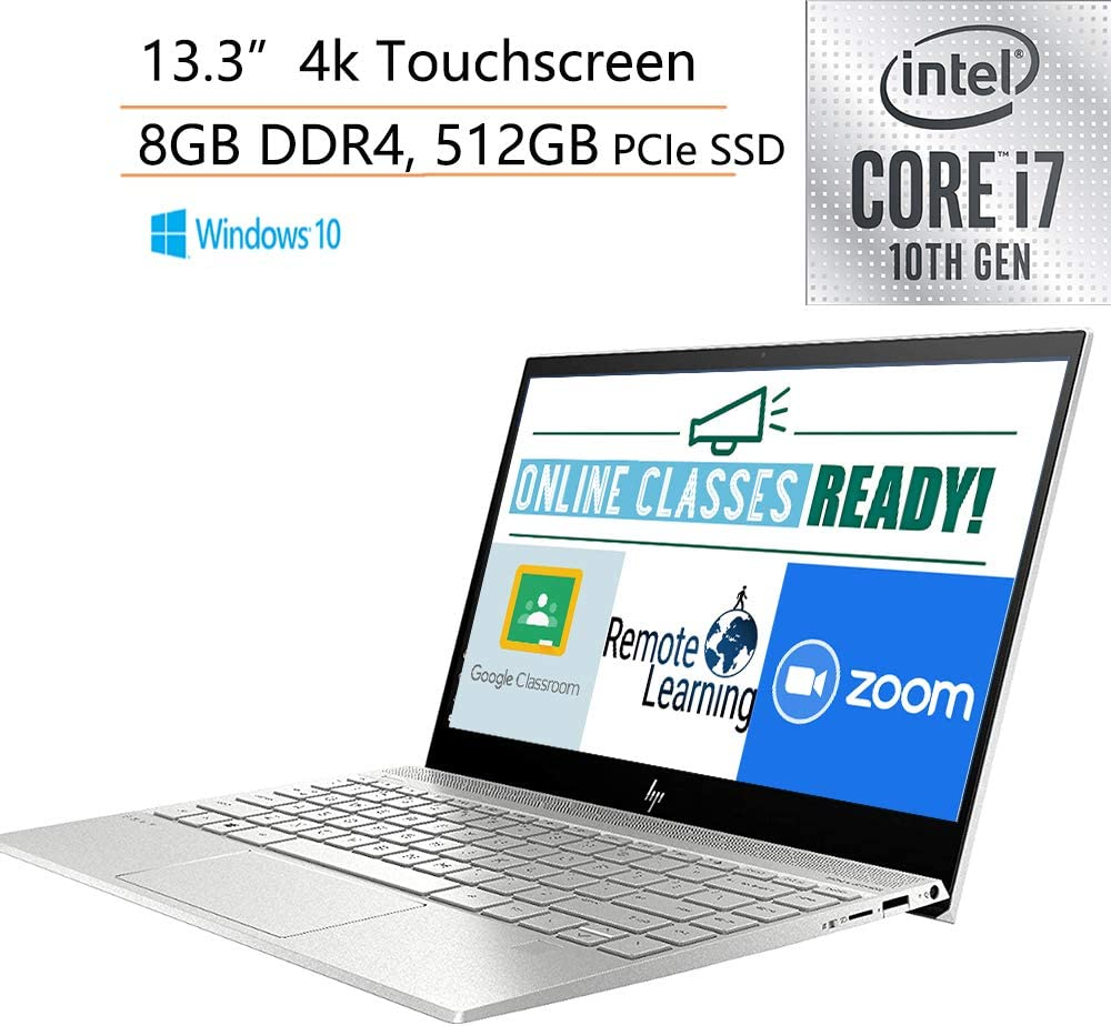 "2020 HP Envy 13.3"" 4K Ultra HD Touchscreen Laptop Computer/ 10th Gen Intel Quard-Core i7 1065G7 up to 3.9GHz/ 8GB DDR4/ 512GB PCIe SSD/ Online Class Ready/ Windows 10/ iPuzzle External DVD Drive"