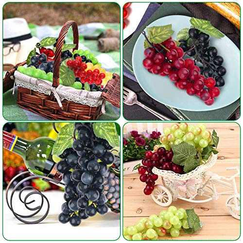 BigOtters 10 Bunches Artificial Grapes, Fake Grapes Simulation Decorative Lifelike Frosted Rubber Grapes Clusters for Wedding Wine Kitchen Centerpiece Decor Faux Fruit Props (5 Colors,2 Size)