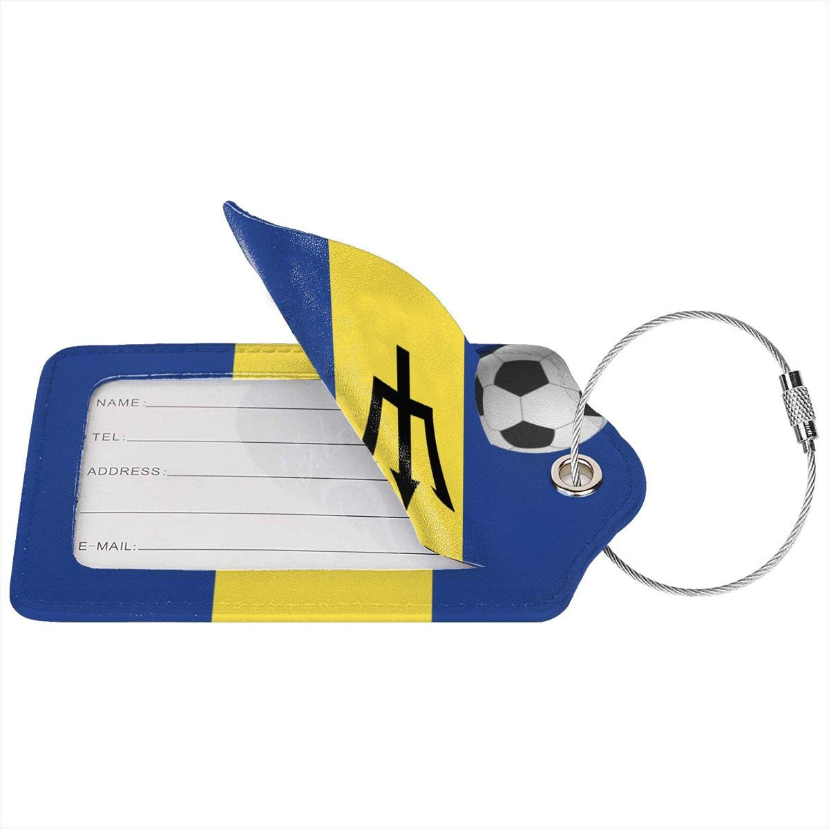 ROLLING HOP Barbados Flag and Soccer Ball Travel Luggage Tag Cool Employees Card Luggage Tag Holders Travel ID Identification Labels.