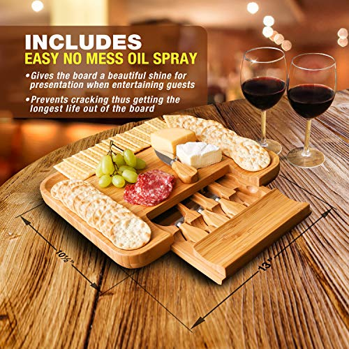 Beautiful Bamboo Cheese Board & Knife Set | Natural, Eco-Friendly & Elegant Cheese Platter Charcuterie Gift Set | Exclusive Cheeseboard With 4 Cheese Knives & Conditioning Oil Spray | Luxury Gift Idea by Greener Chef (Image #1)