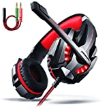 LED Gaming Headset – Surround Sound Gaming Headset, Professional Gaming Headset,Over Ear Gaming Headphone with Microphone Noise Isolating LED Light for PC Games PS4 and 3.5mm Audio Splitter - Red