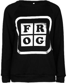 294edac3a5125 Gogofuture Femme Sweats-shirt Imprimé Classique Manches Longues Col Rond Shirt  Hauts Soft Sweater Lâche