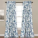 OVS 2 Piece 84 Inch Girls Blue Color Floral Curtain Panel Pair, White Color Window Drapes, Kids Themed Animal Print Energy Efficient Room Darkening Rod Pocket Playful Luxurious, Polyester