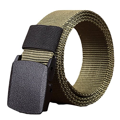 Toimothcn Nylon Canvas Breathable Military Tactical Men Waist Belt with Plastic Buckle (Green,110)
