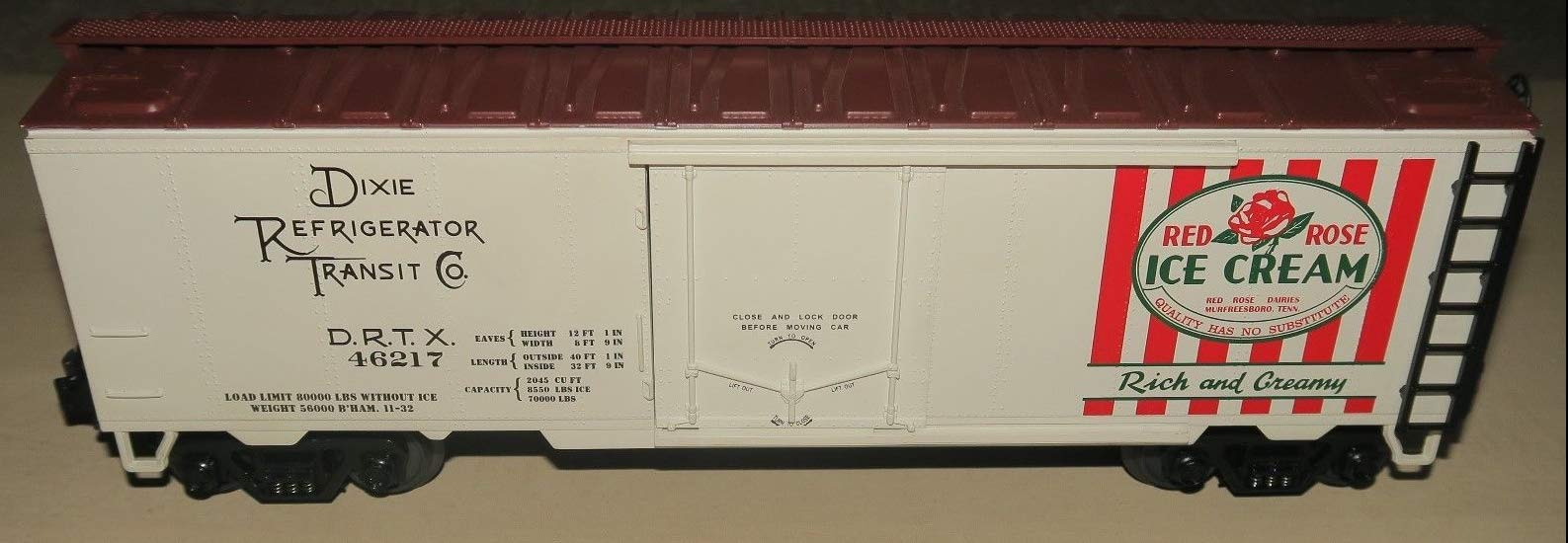 MTH 1:48 O Scale Red Rose Ice Cream #46217 Reefer Car #20-94017