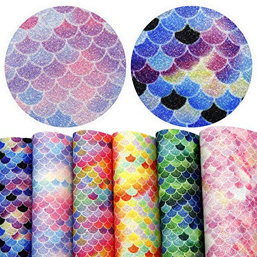 David accessories Mermaid Fish Scales Printed Leather Fabric Glitter Leather Sheets 6 Pcs 8 x 13 (20cm x 34cm) Thick Canvas Back for DIY Projects (Assorted 6 pcs)