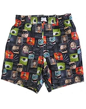 Disney Baby Boys Multi Color Pixar Character Print Swimwear Shorts 2-4T
