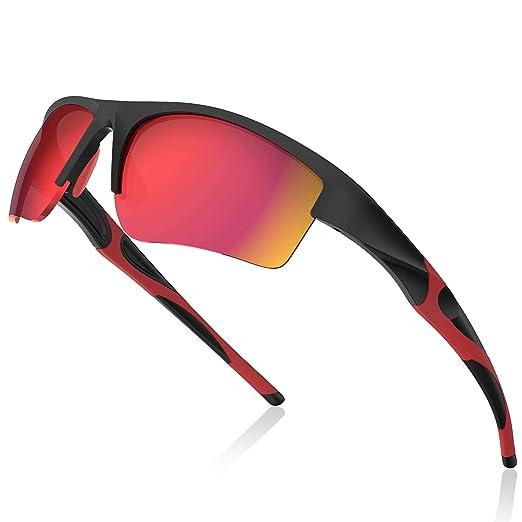 Avoalre® para Hombre Gafas de Sol Deportivas Gafas Hembra Unisex Conducto no polarizado TR90 Super Light UV400 Protección Certificado CE - Rojo