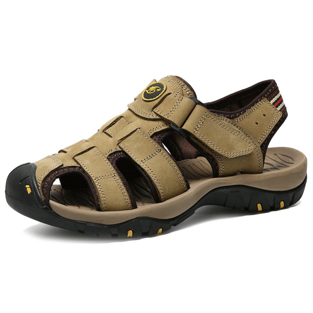 Männer Echt Leder Sandalen Closed-Toe Atmungsaktive Outdoor Turnschuhe Wandern Casual Hausschuhe Für Papa Wandern Turnschuhe Reise Schuhe Große Größe 38-47 Khaki f8e2cb