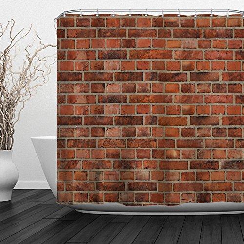 (ALFALFA Brick Wall Shower Curtains,Vintage Marble Stone Wall Decor,Waterproof Fabric Bathroom Decor Set with Hooks,72