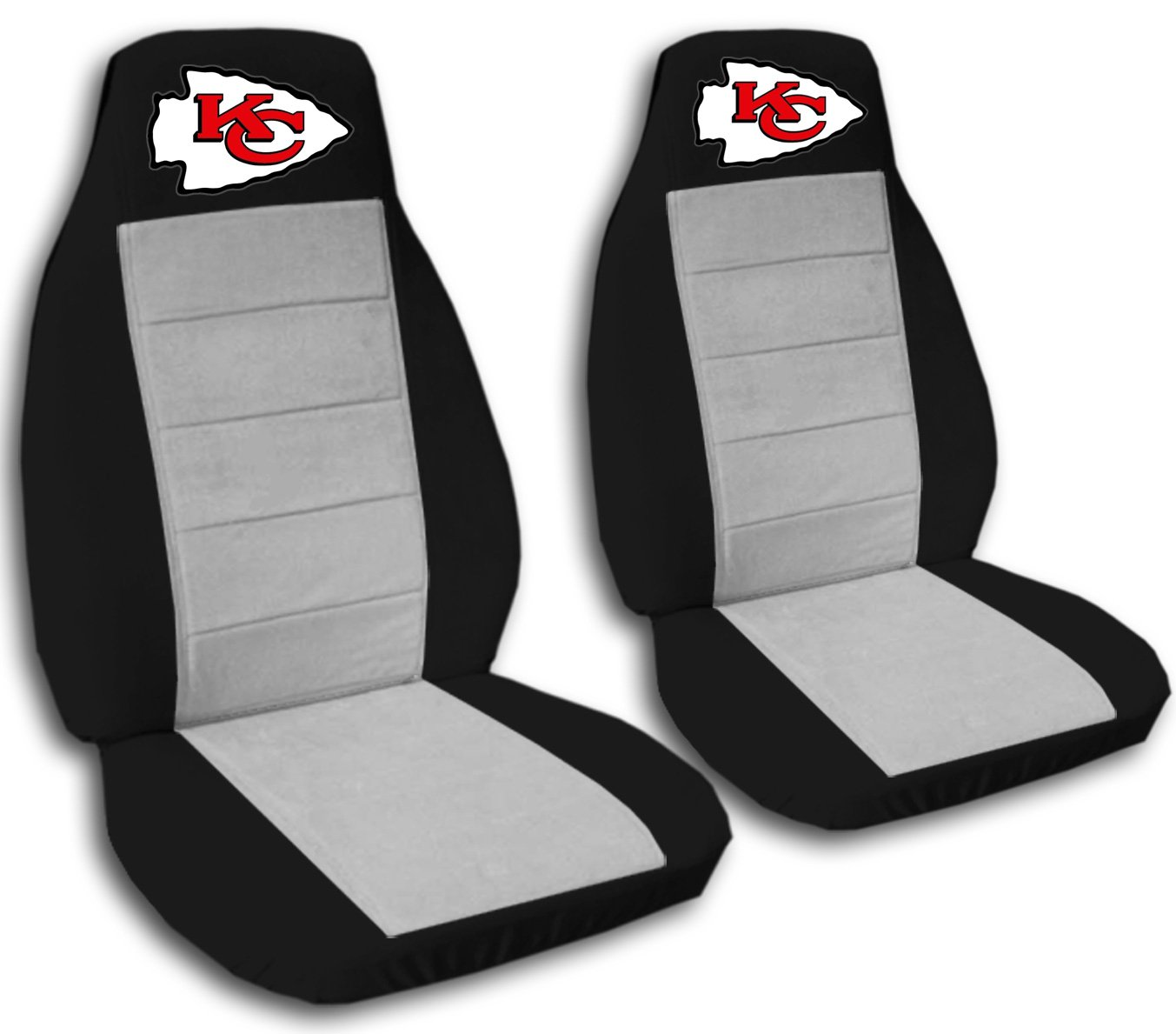 2 Black and Silver Kansas City seat covers for a 2007 to 2012 Chevrolet Silverado. Side airbag friendly.