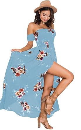 wholesale dealer b0861 42101 Sommerkleider Lang Strandkleider Lange Kleider Maxikleid Sommerkleid Blumen  Maxi Kleider Sommer Damen Off Shoulder Bandeau Chiffon Kleid Strand ...