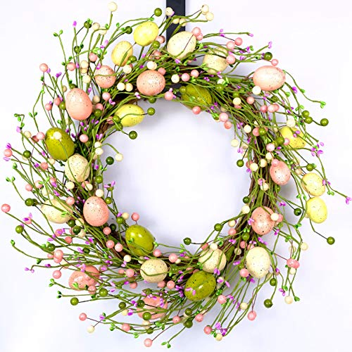 idyllic Easter Wreath with Colorful Eggs Artificial Grapevine Garland for Front Door Wall Decor Holiday Decoration 20""