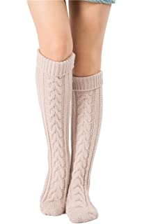 39df2f36546 SherryDC Women s Cable Knit Long Boot Stocking Socks Knee High Winter Leg  Warmers