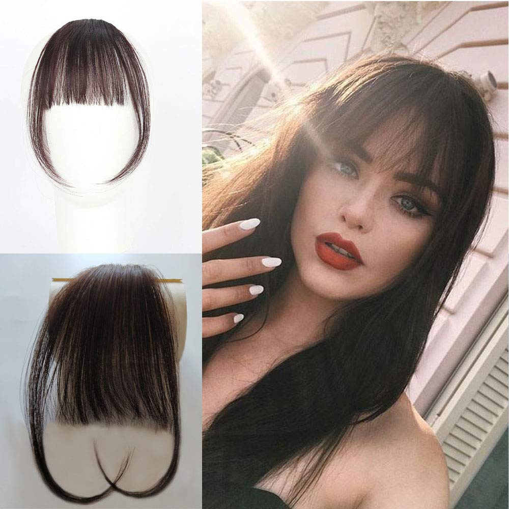 Vowinlle Air Hair bangs Clip on Real Hair #4 Dark Brown Clip in Bangs 100% Human Hair One Piece Straight Fringe Hairpiece Accessories (Flat Bangs with Temples) by Vowinlle