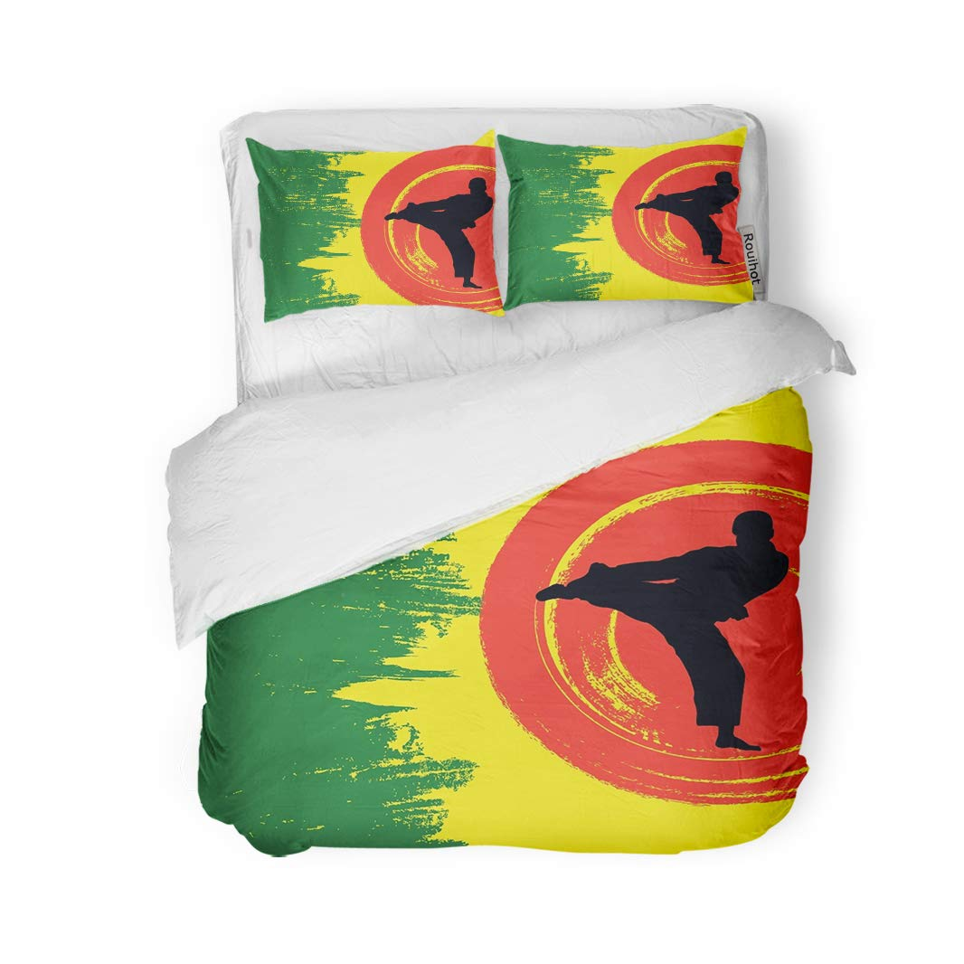 rouihot 3 Piece Duvet Cover Set King Size Green Basic of Man Demonstrating Karate Black Boy Fight Microfiber Fabric Print Home Decor Bedding Set Cover by rouihot