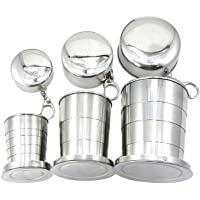 XHSPORT XH New Stainless Steel Portable Folding Telescopic Collapsible Outdoor Travel Cup Mug Keychain Hiking