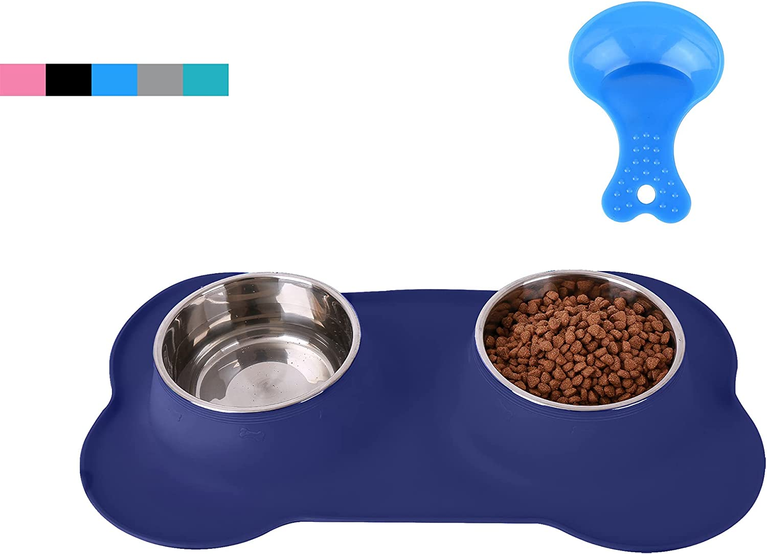 Hubulk Pet Dog Bowls 2 Stainless Steel Dog Bowl with No Spill Non-Skid Silicone Mat + Pet Food Scoop Water and Food Feeder Bowls for Feeding Small Medium Large Dogs Cats Puppies (M, Navy Blue)