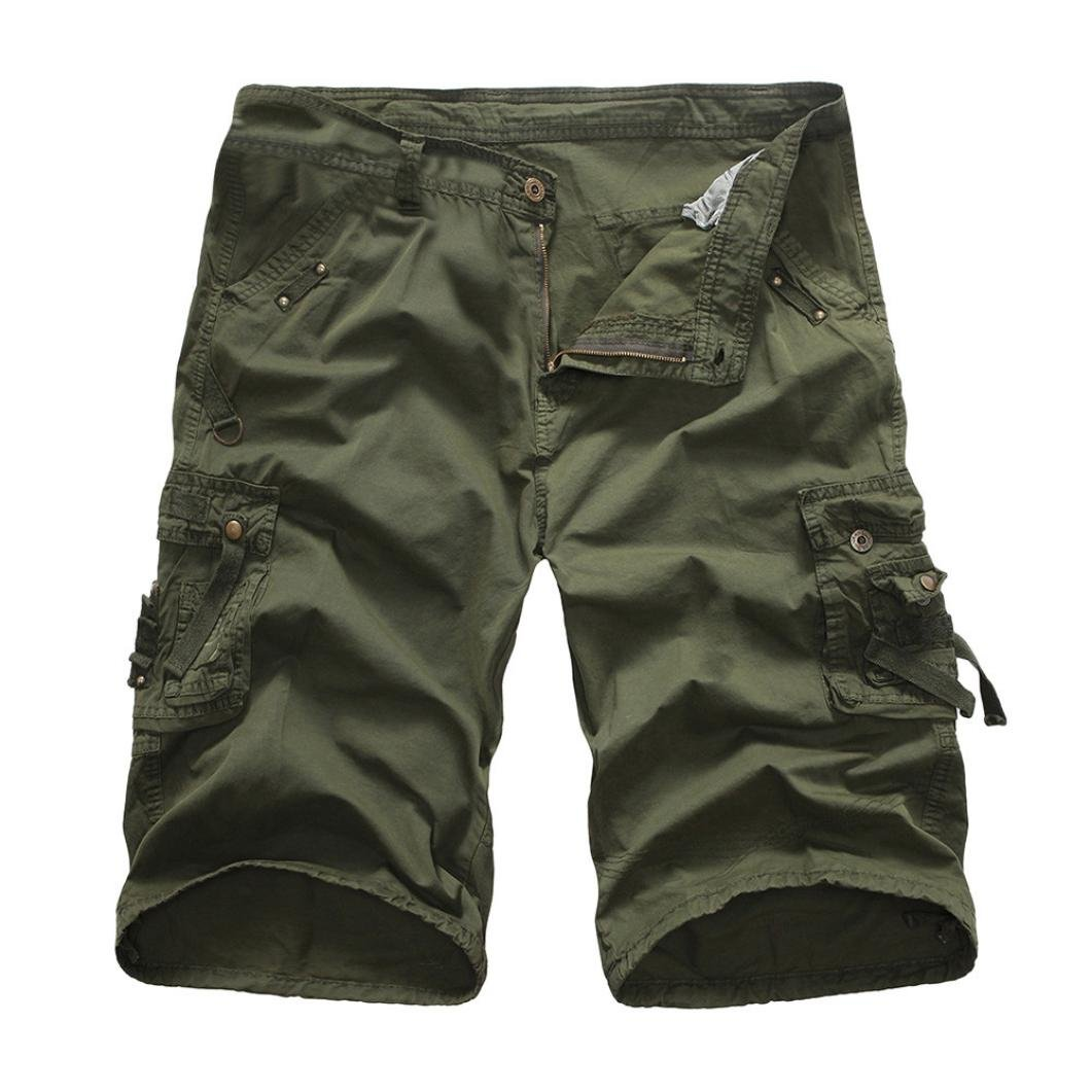 iZHH Men's Outdoors Pocket Work Trouser Cargo Shorts Pants Twelve Colors(Army Green-A,29)