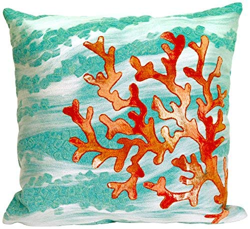 Liora Manne 7SC2S415804 Visions III Coastal Reef Pillow Coral Wave Indoor/Outdoor Pillow 20