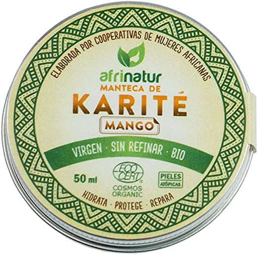 Manteca de karité mango Afrinatur · pura · sin refinar · Bio Ecológica Certificado Ecocert - 50 ml