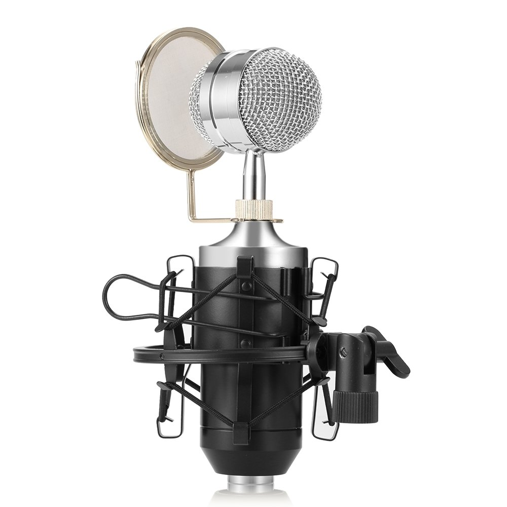 Professional Condenser Studio Recording Broadcasting Microphone,Home Cardioid Vocal Recording Mic with Metal Shock Mount for Recording,Podcasting,Online Chatting,Facebook,YouTube,Skype (Black) by ShakeLady
