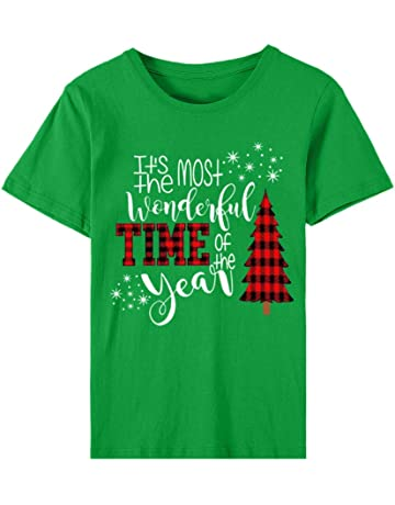 Kinlene Womens O-Neck Short Sleeves Casual Cute Holiday Shirt Christmas Tops for Women Family Christmas Party Shirt