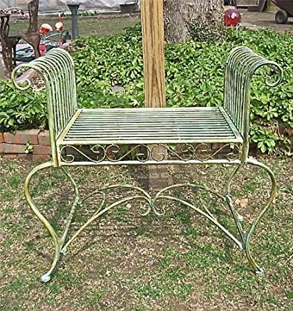 Garden Bench/ Plant Stand   Wrought Iron   Antique Mint Green Finish