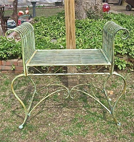 Garden-bench/ Plant Stand - Wrought Iron - Antique Mint G...