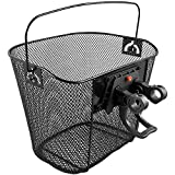 Bicycle Gear Detachable Bicycle Basket With Quick Release Metal Bike Basket With Handle Black