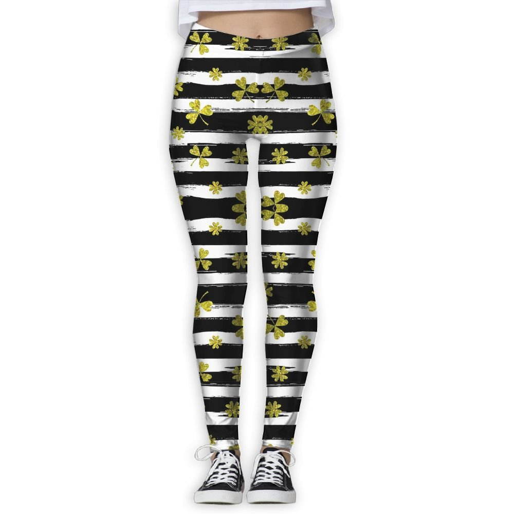 8994cebd54973 Amazon.com: Women's Girl Black White Stripes Clover High Waist Casual Leggings  Tights Yoga Pants Running Pants Stretchy Sport Pilates Workout Long ...