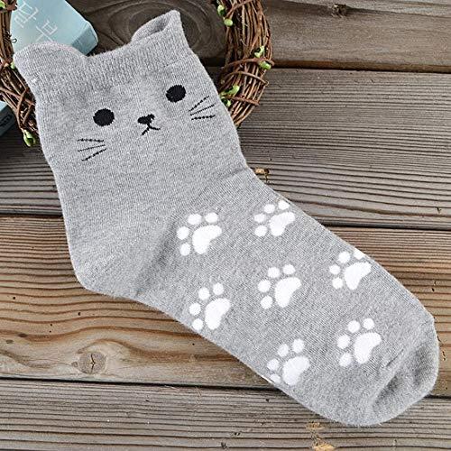 Haluoo Women's Animal Print No Show Liner Socks Cute Cat Pattern Low Cut Socks Fun Crazy Crew Socks Cushion Ankle Running Socks for Sport Athletic (Gray)