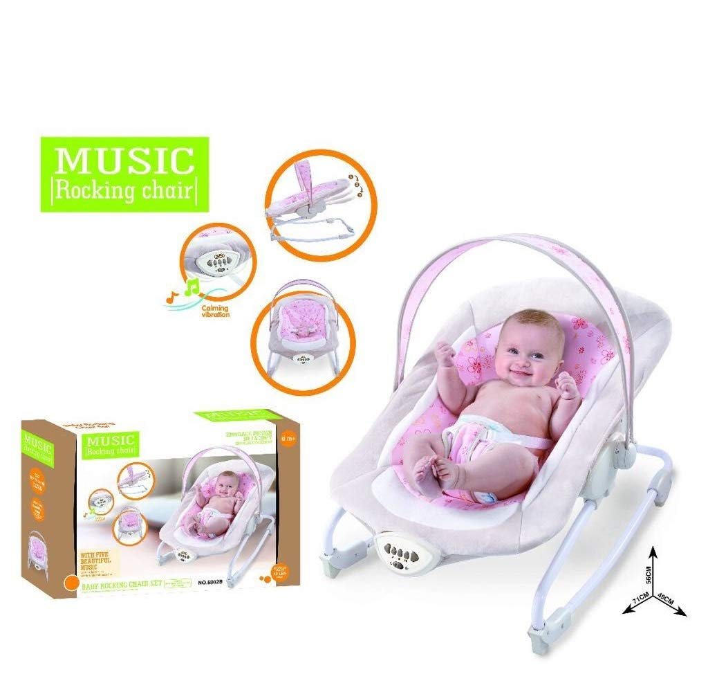 Baby Cradling Rocking Swing Bouncer Musical Vibration Chair Seat Pink UTP