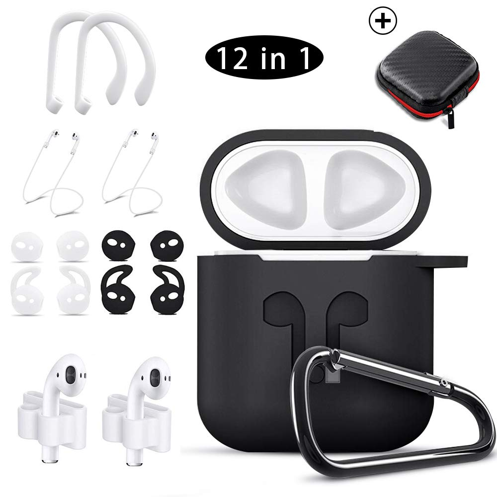 KHTONE AirPods Case, 12 in 1 Silicone AirPods Accessories Set Protective Cover, Compatible with Apple AirPods Charging Case,Watch Band Airpods Holder Ear Hooks Keychain Carrying Box