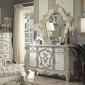 1PerfectChoice 2 Pieces Versailles Vintage Bedroom Luxury Makeup Dresser & Mirror Bone White