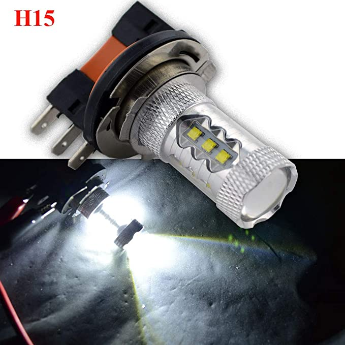 Ruiandsion - 2 bombillas LED H15 superbrillantes de 10 a 30 V CREE 16SMD LED antiniebla luz diurna para coche, 6000 K, color blanco: Amazon.es: Coche y moto