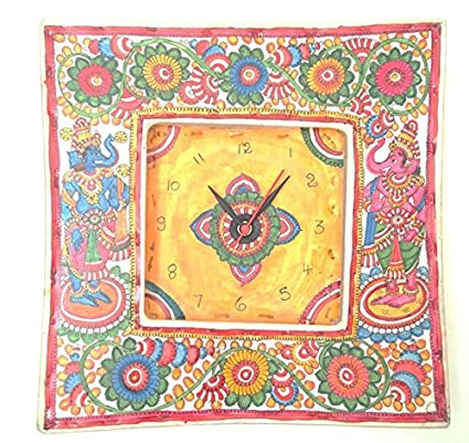 Amazon.com: Colourful Handpainted Ethnic Leather Puppetry Wall Clock ...
