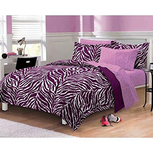 Teen Girls Morris Purple 7-Pc Comforter Set Bedding Queen Cute PB Vogue Bedspread Duvet For College Teenager (Teen Vogue Duvet Covers)