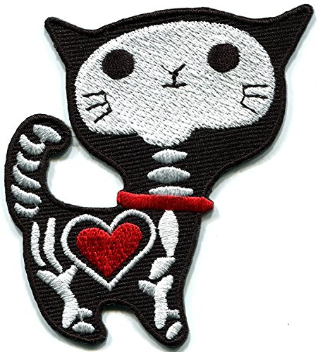 Black X-Ray cat kitten kitty retro bad luck punk goth creepy embroidered applique Measures 3 inches wide by 3.13 inches - Bad Goth