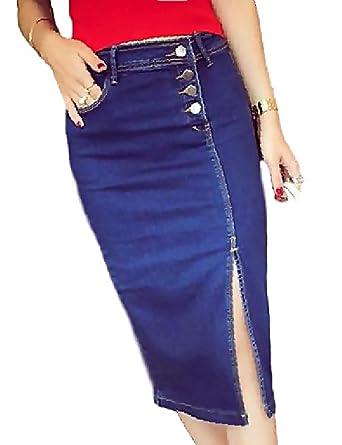 877f1e90b8b602 Amazon | [トーアソーア] デニム タイト スカート 膝丈 セクシー スリット レディース ファッション | スカート 通販
