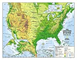 National Geographic: Kids Physical USA Education: Grades 4-12 Wall Map - Laminated (51 x 40 inches) (National Geographic Reference Map)
