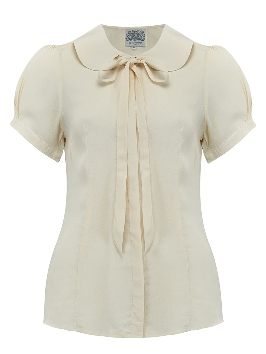 1940s Blouses and Tops 1940s Authentic Vintage Tie-Blouse in Crepe De Chine by The Seamstress of Bloomsbury £39.00 AT vintagedancer.com