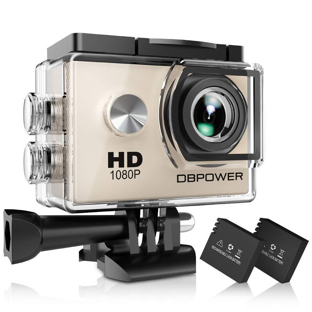 DBPOWER Sport Actionkamera 1080P Mini 30M Wasserdicht 12MP 170 Grad Weitwinkel 1,5 Zoll LCD HD Display mit Batterien und Accessoires (SJ4000-Silber)