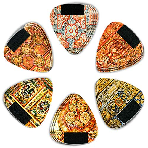 Dulphee Celluloid 18 Pack Guitar Picks Unique Vintage Pattern Design Guitar Plectrums - Heavy Gauge 0.96mm for Acoustic Electric & Bass Guitars