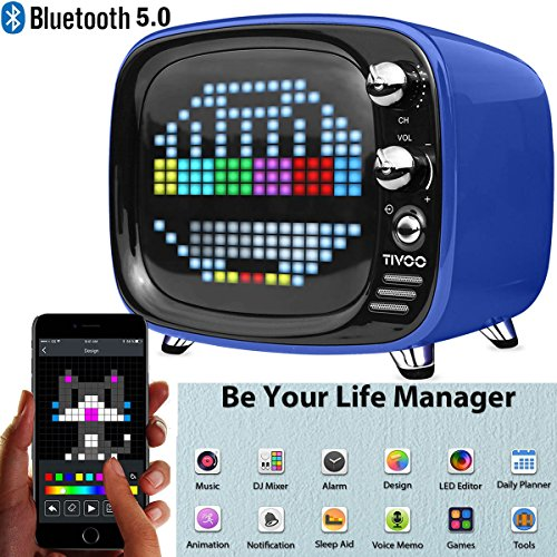 Divoom Tivoo Timebox Bluetooth Speaker Smart Portable Sleep-aid Alarm Clock LED APP Control Pixel Art Creation Animation LED Bluetooth Speaker (Blue) by Divoom