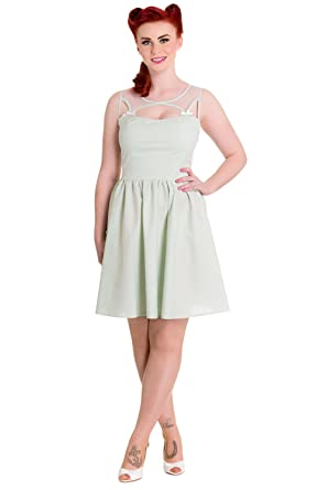 Hell Bunny Alice Mint Green Gingham Check Sheer Top Party Dress at ... 00d5b0bf6
