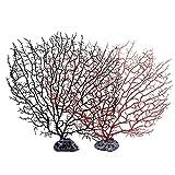 Plastic Aquarium Fish Tank Artificial Coral Decoration Ornament Accessories Size L Red