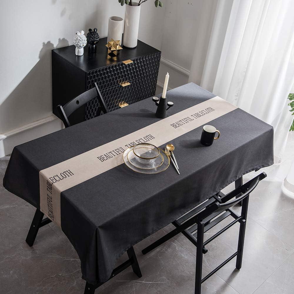 XUDOAI Mantel Antimanchas Diseño de Carta Rectangular Mantel, Transpirable, Aislamiento Térmico, Restaurante,Cocina, Cafetería, Mantel de Jardín (135 * 260cm, Black)