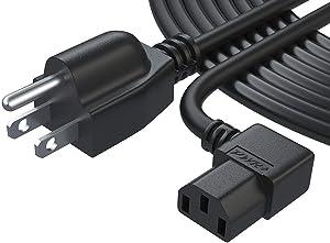 25 Ft 3 Prong Ac Power Cord for LCD Tv Plasma DLP LED Monitor 4K Screen: Vizio Samsung Toshiba Sony Panasonic Lg Philips Viewsonic Dell Monitor Ps3 Xbox 360 Epson Printer Cable Plug L-Type